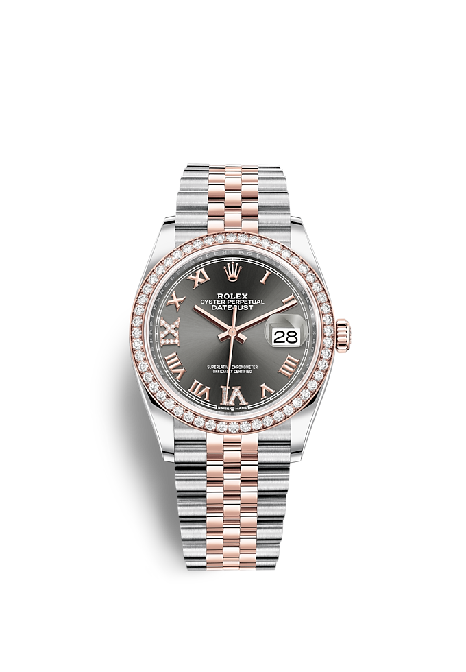 Datejust 36, Oyster, 36 mm, Oystersteel-staal, Everose-goud en diamanten
