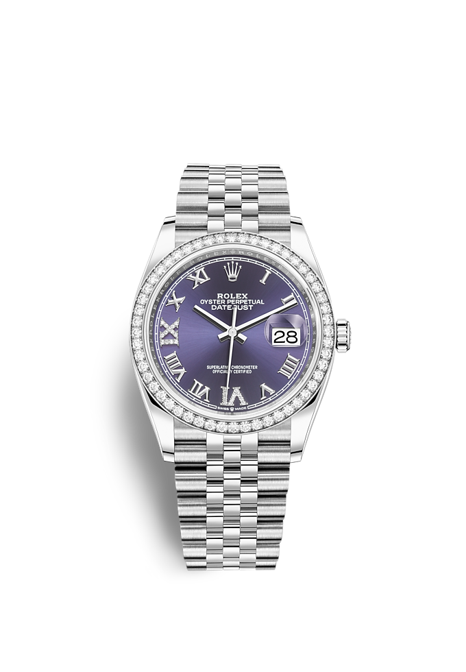 Datejust 36, Oyster, 36 mm, Oystersteel, white gold and diamonds
