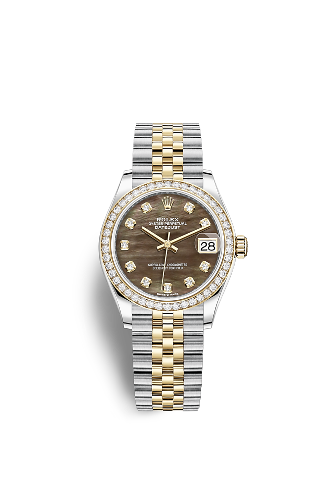 Datejust 31, Oyster, 31 mm, Oystersteel-staal, geelgoud en diamanten