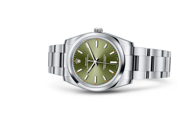 Oyster Perpetual 34 - Olive green, Oystersteel