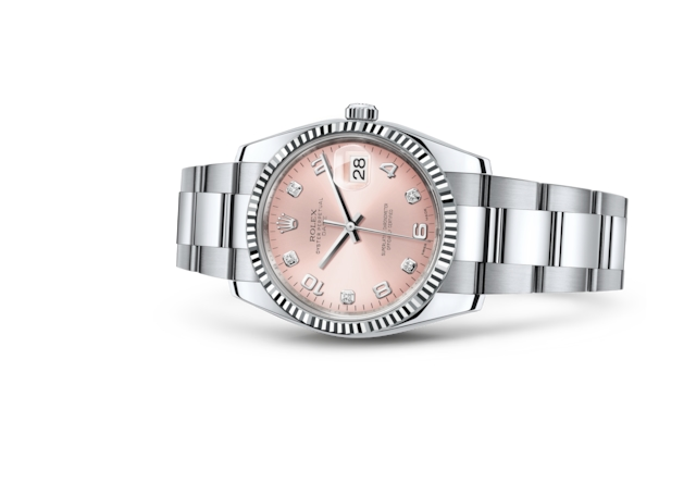 Date 34 - Pink set with diamonds, Oystersteel and white gold