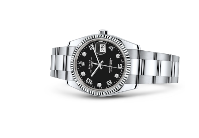 Date 34 - Black set with diamonds, Oystersteel and white gold