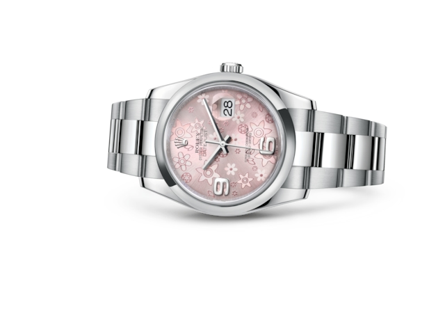 Datejust 36 - Rosa con motivo floral, Acero Oystersteel