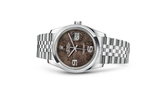 Datejust 36 - Họa tiết hoa màu đồng, Oystersteel