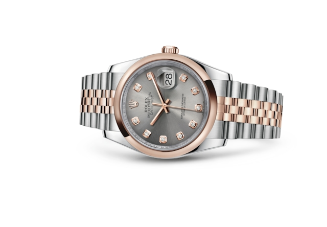Datejust 36 - Steel set with diamonds, steel and Everose gold