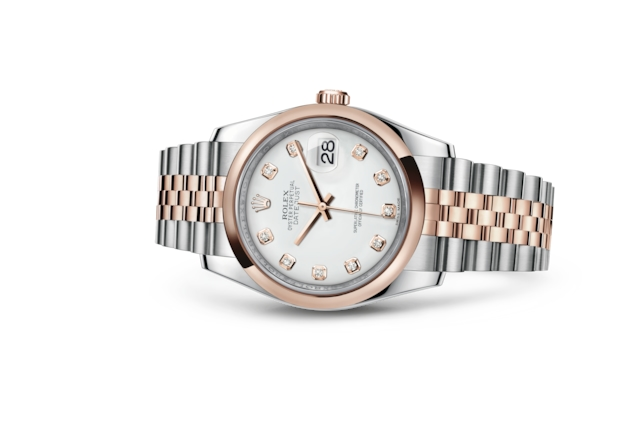 Datejust 36 - White set with diamonds, steel and Everose gold