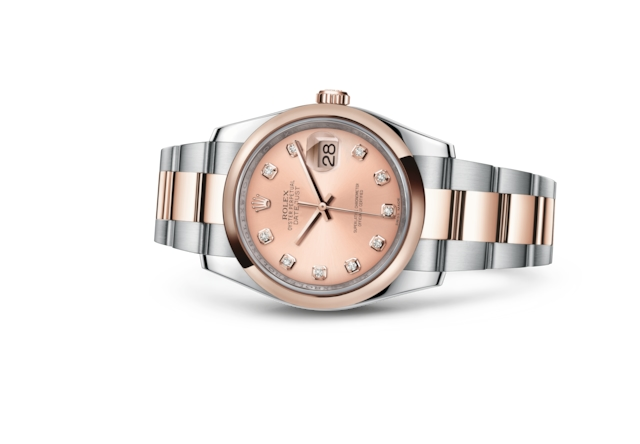 Datejust 36 - Pink set with diamonds, steel and Everose gold