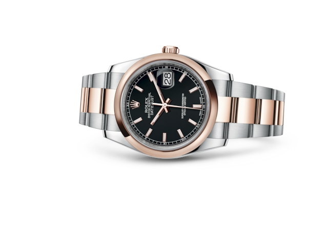 Datejust 36 - Black, steel and Everose gold