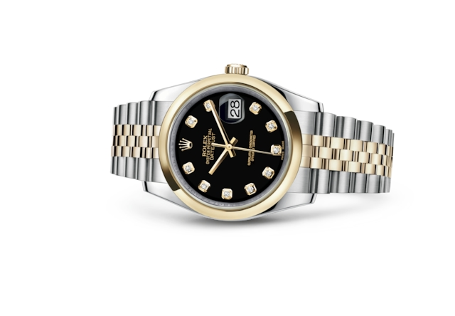 Datejust 36 - Black set with diamonds, steel and yellow gold