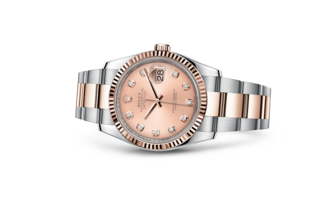Datejust 36 - Rose, serti de diamants, acier et or Everose