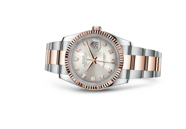 Datejust 36 - Silver set with diamonds, steel and Everose gold