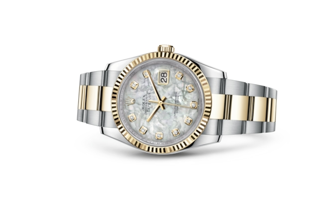 Datejust 36 - White mother-of-pearl set with diamonds, steel and yellow gold