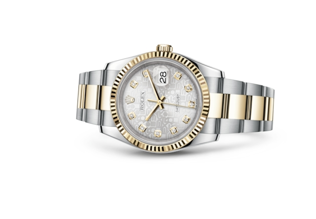 Datejust 36 - Silver Jubilee design set with diamonds, steel and yellow gold