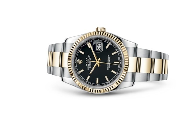 Datejust 36 - Black, steel and yellow gold