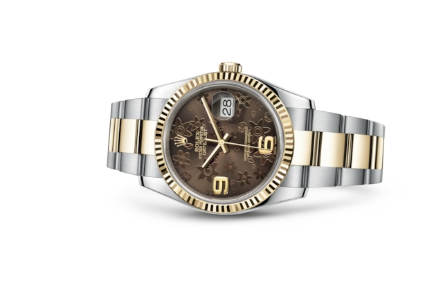 Datejust 36 - Bronze floral motif, steel and yellow gold