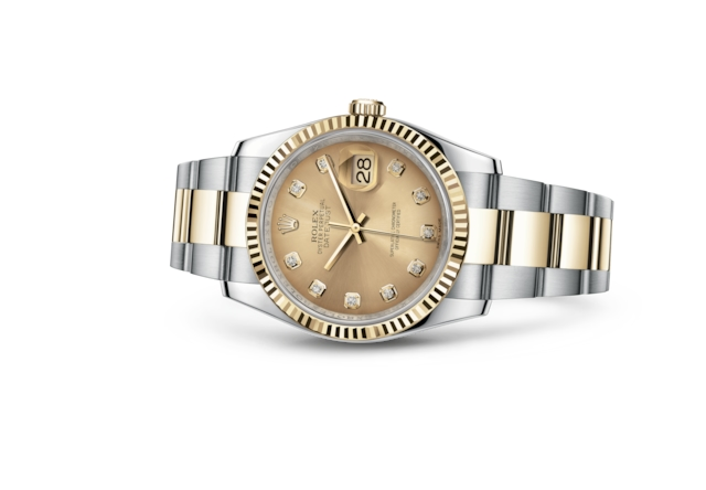 Datejust 36 - Champagne-colour set with diamonds, steel and yellow gold