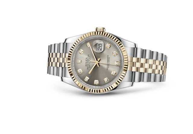 Datejust 36 - Steel set with diamonds, steel and yellow gold