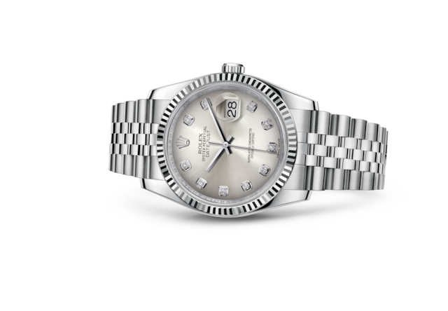Datejust 36 - Silver set with diamonds, steel and white gold