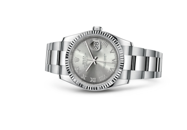 Datejust 36 - Rhodium, steel and white gold