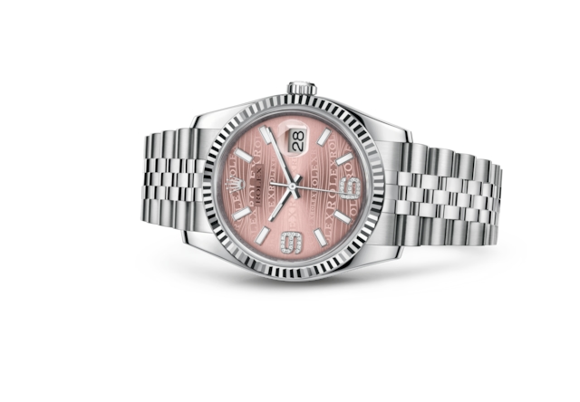 Datejust 36 - Pink waves set with diamonds, Oystersteel and white gold