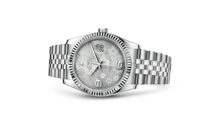 Datejust 36 - Silver floral motif, Oystersteel and white gold