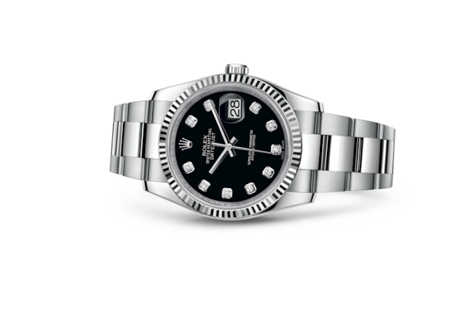 Datejust 36 - Black set with diamonds, Oystersteel and white gold