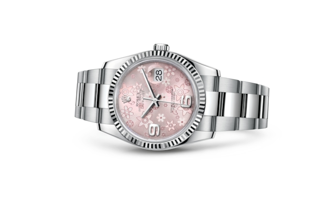 Datejust 36 - Pink floral motif, steel and white gold