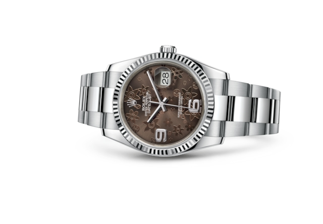Datejust 36 - Bronze floral motif, steel and white gold