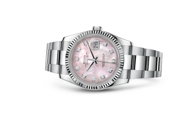 Datejust 36 - Nacre rose, serti de diamants, Acier Oystersteel et or gris
