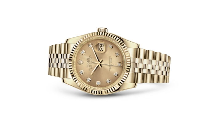 Datejust 36 - Couleur champagne, serti de diamants, or jaune