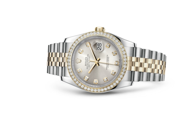 Datejust 36 - Argenté, serti de diamants, acier, or jaune et diamants