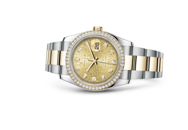 Datejust 36 - Jubilé couleur champagne, serti de diamants, acier, or jaune et diamants