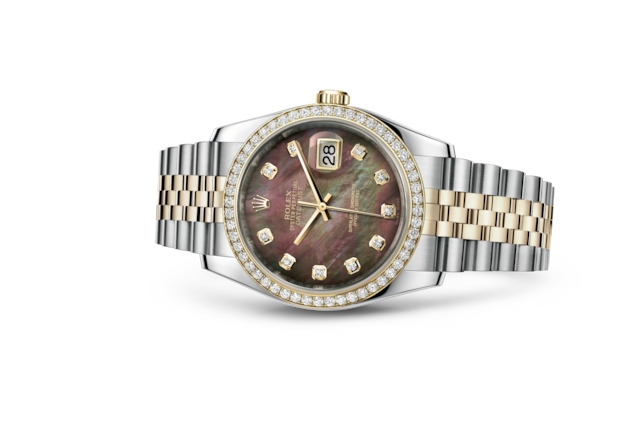 Datejust 36 - Nacre noire, serti de diamants, acier, or jaune et diamants