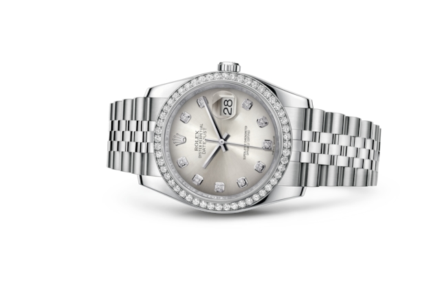 Datejust 36 - Silver set with diamonds, steel, white gold and diamonds