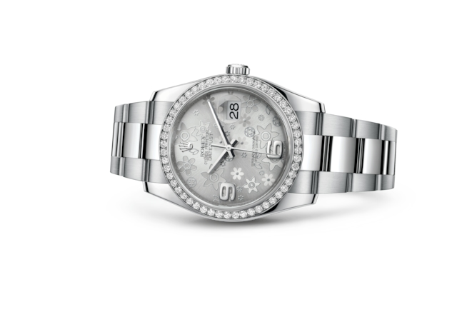 Datejust 36 - Silver floral motif, Oystersteel, white gold and diamonds