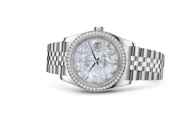 Datejust 36 - White mother-of-pearl set with diamonds, Oystersteel, white gold and diamonds
