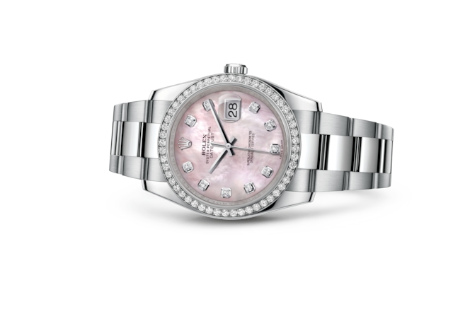 Datejust 36 - Nacre rose, serti de diamants, acier, or gris et diamants