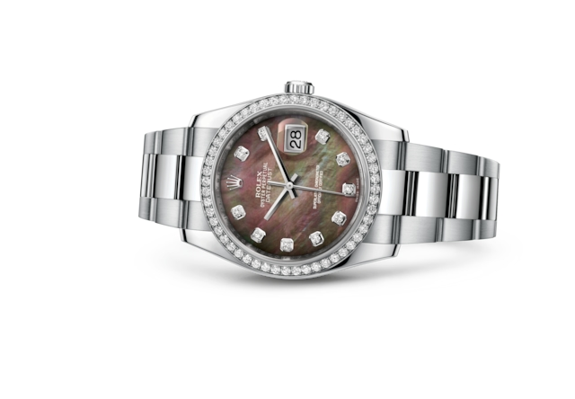 Datejust 36 - Nacre noire, serti de diamants, acier, or gris et diamants