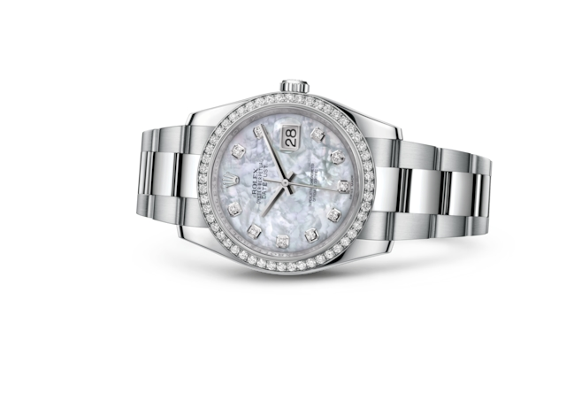 Datejust 36 - Nacre blanche, serti de diamants, acier, or gris et diamants