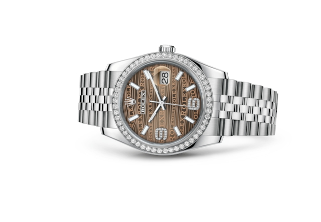 Datejust 36 - Vagues bronze, serti de diamants, acier, or gris et diamants