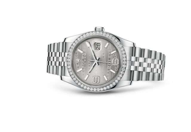 Datejust 36 - Rhodium waves, Oystersteel, white gold and diamonds