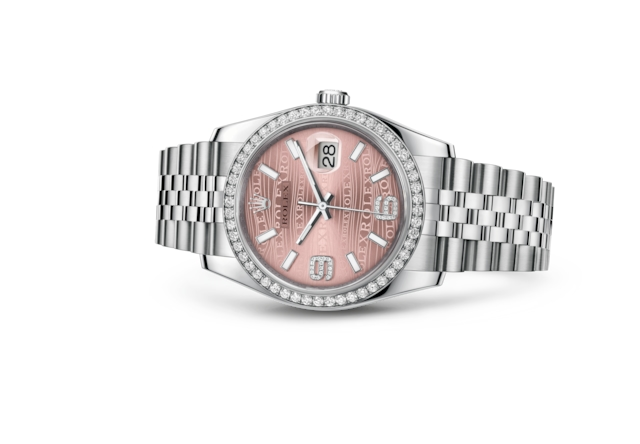 Datejust 36 - Pink waves set with diamonds, Oystersteel, white gold and diamonds