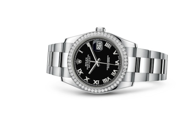 Datejust 36 - Noir, Acier Oystersteel, or gris et diamants