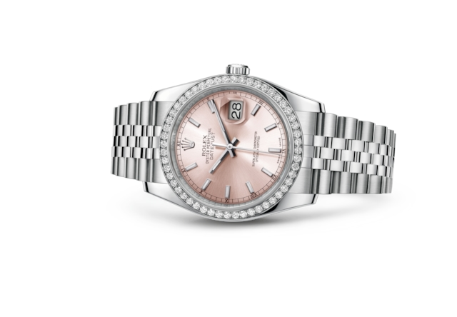 Datejust 36 - Rose, Acier Oystersteel, or gris et diamants
