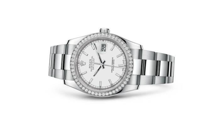 Datejust 36 - Wit, Oystersteel-staal, witgoud en diamanten
