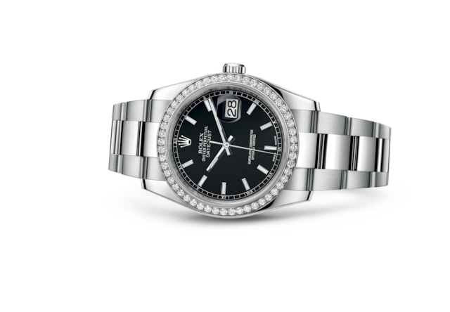 Datejust 36 - Black, Oystersteel, white gold and diamonds
