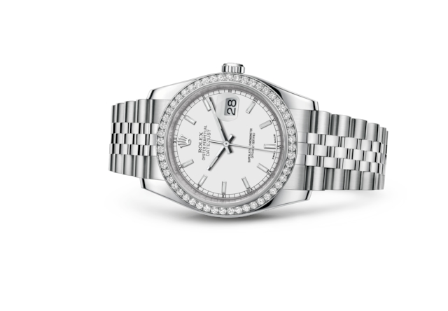 Datejust 36 - Blanc, acier, or gris et diamants