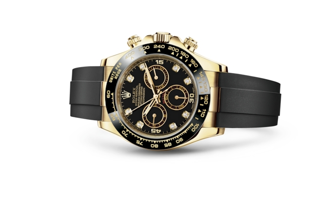 Cosmograph Daytona - Noir, serti de diamants, or jaune