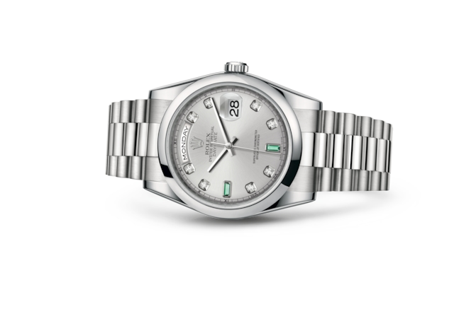 Day-Date 36 - Rhodium set with diamonds and emeralds, platinum