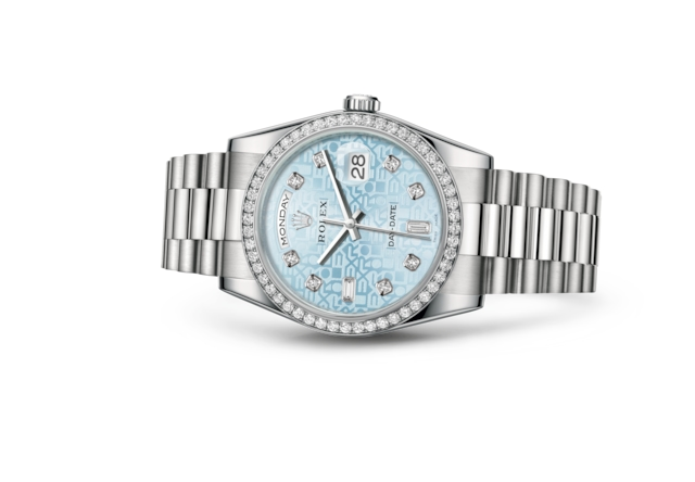 Day-Date 36 - Ice blue Jubilee design set with diamonds, platinum and diamonds